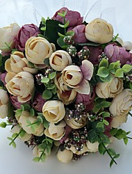 Fleurs de mariage Rond Roses Pivoines Bouquets Mariage La Fête / soirée Satin Env.23cm
