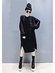 Tricot Robe Femme Décontracté / Quotidien simple,Lettre Col Arrondi Midi Manches Longues Rouge / Noir / Vert Spandex Automne / Hiver