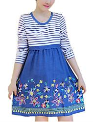 Gravidez Solto Vestido,Casual Simples Colorido / Retalhos Decote Redondo Acima do Joelho Manga Longa Azul / Vermelho AlgodãoPrimavera /