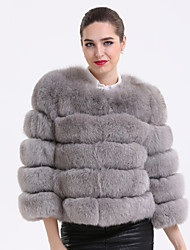BF-Fur Style Women's Casual/Daily Sophisticated Fur CoatSolid Round Neck  Sleeve Winter Gray Fox Fur