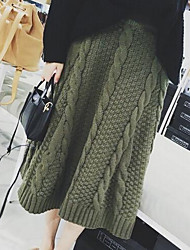 Women's A Line Solid Knitting Skirts,Going out / Casual/Daily Simple High Rise Knee-length Elasticity Faux Fur Stretchy Summer