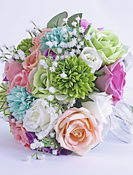 Fleurs de mariage Rond Roses Bouquets Mariage / Le Party / soirée Satin / Fleur séchée