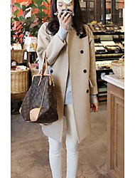 Women's Going out Vintage Coat,Solid Long Sleeve White Cotton