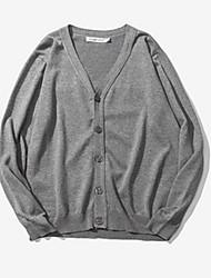 Herren Standard Pullover-Lässig/Alltäglich Einfach Solide Grau V-Ausschnitt Langarm Baumwolle Frühling Herbst Mittel Mikro-elastisch