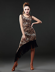 Dança Latina Vestidos Mulheres Actuação Algodão / Náilon Chinês Borla(s) 1 Peça Sem Mangas Natural Vestidos