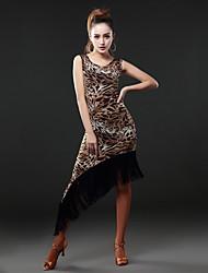 Latin Dance Dresses Women's Performance Cotton / Chinlon Tassel(s) / Splicing 1 Piece Long Sleeve Natural Dress