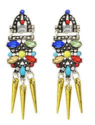 Fashion Colorful Rhinestone Spike Long Drop Earrings