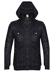 Men's Casual/Daily Simple JacketsSolid Hooded Long Sleeve Fall / Winter Black PU Thick k331