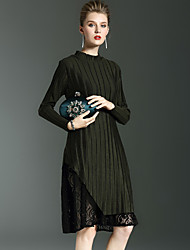 Feminino Reto Vestido, Para Noite / Casual Moda de Rua Sólido Colarinho Chinês Altura dos Joelhos Manga Longa Preto / VerdeAlgodão /