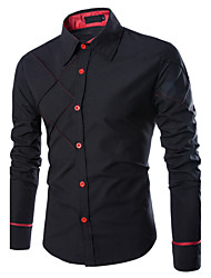 Men's Going out / Casual/ Active All Seasons ShirtSolid Classic Collar Long Sleeve Black Cotton Medium
