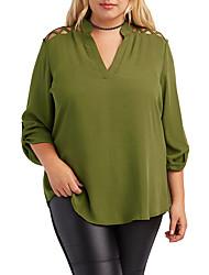 Women's Cut Out Plus Size Caged Shoulder Split Collar Blouse