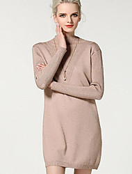 Women's Going out / Beach / Holiday Sexy / Cute / Chinoiserie Loose Dress,Solid Round Neck Knee-length Long Sleeve Pink NylonFall /