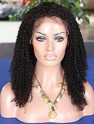 couleur noire spirale dentelle bouclés perruque coiffure naturelle brazilian vierge cheveux humains pleine perruque de dentelle avec des