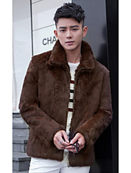 Men's Casual/Daily Simple Fur Coat,Solid Standing Collar Long Sleeve Winter Black / Brown Faux Fur Medium