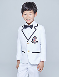 Cotton Ring Bearer Suit - Five-piece Suit Pieces Includes  Jacket / Shirt / Vest / Pants / Bow Tie