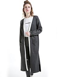 Damen Lang Strickjacke-Urlaub Lässig/Alltäglich Einfach Solide Grau V-Ausschnitt Langarm Wolle Baumwolle Polyester Winter Dick