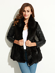 Women's Plus Size /Party/Cocktail Sexy / Simple Fur Coat,Solid / Color Block Shawl Lapel Long Sleeve Fall /