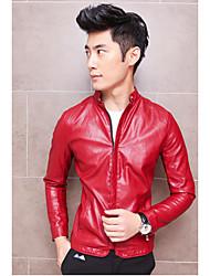 Masculino Jaquetas de Couro Informal / Festa/Coquetel / Férias Simples Outono,Sólido Azul / Vermelho / Preto Poliuretano Colarinho Chinês-
