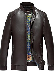 Men's Casual/Daily Simple Leather Jackets,Solid Stand Long Sleeve Spring / Fall Black / Brown / Yellow PU Medium