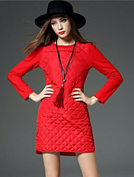 Women's Work / Sports Street chic / Sophisticated Swing Dress,Solid Halter Above Knee Long Sleeve Red Cotton All Seasons Mid Rise