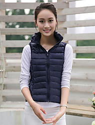 Women's Regular Down Coat,Simple Casual/Daily Plus Size Solid-Nylon White Duck Down Sleeveless