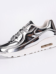 Men's Athletic Shoes Winter Comfort PU Casual Flat Heel Lace-up Black Silver Gold Running