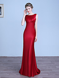 Formal Evening Dress Sheath / Column Jewel Floor-length Stretch Satin with Pleats