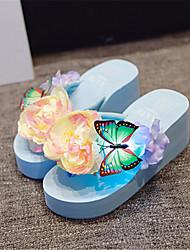 Damen-Sandalen-Lässig-PUCreepers-Blau / Rosa / Weiß
