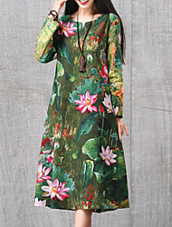 Ample Robe Femme Sortie Chic de Rue,Imprimé Col Arrondi Midi Manches Longues Vert Coton / Lin Automne Taille Normale Non Elastique Moyen