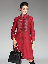 Feminino Casaco Casual / Tamanhos Grandes Sofisticado Inverno,Bordado Azul / Vermelho / Bege Poliéster Colarinho Chinês-Manga Longa