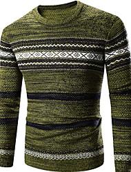 Для мужчин На каждый день Активный Обычный Пуловер Однотонный Контрастных цветов,Зеленый Круглый вырез Длинный рукав Хлопок Полиэстер