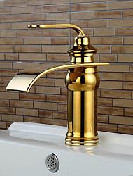 Ti-PVD Waterfall Bathroom Sink Faucets