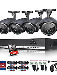 ANNKE® 4CH CCTV Camcorder 720P AHD DVR 4PCS 1280 TVL 1.0 MP IR Outdoor Security Camera Surveillance System Kit Email Alarm 1TB