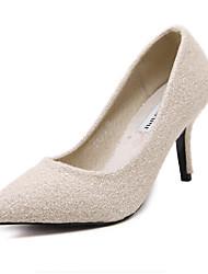 Damen-High Heels-Kleid-Kunststoff-StöckelabsatzSchwarz Mandelfarben