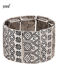 Brand Hot Selling 5 Different Colors Retro Patterns Elastic Wide Mental Bangle for Women BL150161