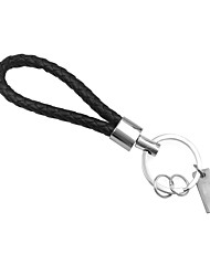 ZIQIAO 1 PC Black Leather Keychain Holder Keyring Silver Key Car Chain Rings