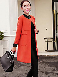 Manteau Femme,Couleur Pleine Sortie / Décontracté / Quotidien simple Manches Longues Vert / Orange / Jaune Polyester MoyenPrintemps /