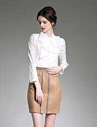 Set Jupe Costumes Femme,Couleur Pleine Décontracté / Quotidien simple Automne Manches ¾ Col de Chemise Marron Polyester