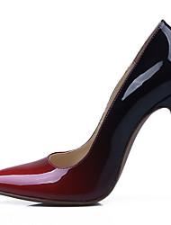 Feminino-Saltos-Conforto Sapatos clube Light Up Shoes-Salto Agulha-Vermelho-Pele-Social Casual Festas & Noite