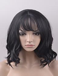 European and American fashion pear head short black hair high temperature wire wig