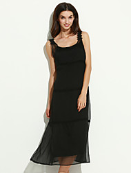 Women's Party/Cocktail Boho Loose / Trumpet/Mermaid Dress,Solid Strap Maxi Sleeveless Red / Black Rayon Summer