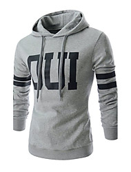 Men's Plus Size Casual/Daily Active Simple Hoodie Letter Striped Round Neck Micro-elastic Cotton Long Sleeve Fall Winter
