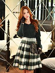 Damen Röcke,Schaukel MusterAusgehen / Lässig/Alltäglich / Arbeit Street Schick / Vintage / Niedlich Hohe Hüfthöhe Knielänge Reisverschluss