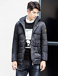 Men's Short Down Coat,Simple Casual/Daily Solid-Cotton White Duck Down Long Sleeve Hooded Black