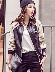 Women's Going out Vintage Fall / Winter Leather Jackets,Solid / Patchwork Black PU / Polyester Medium