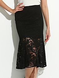 Women's New in Fashionable Joker Xexy Lace Long Tail Skirts