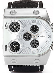 Oulm Men's Wrist watch Three Time Zones Quartz Genuine Leather Band Cool Casual Luxury Black