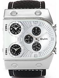 Oulm Hommes Montre Bracelet Quartz Triple Fuseaux Horaires Vrai Cuir Bande Pour tous les jours Luxe Cool Noir Blanc Noir Café