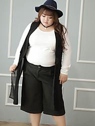 Femme Grandes Tailles Droite Shorts Pantalon,Vintage Décontracté / Quotidien Couleur Pleine Taille Haute fermeture Éclair Polyesternon