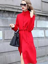 Женский На выход Однотонный ПальтоПростое Красный / Коричневый Длинный рукав,Шерсть